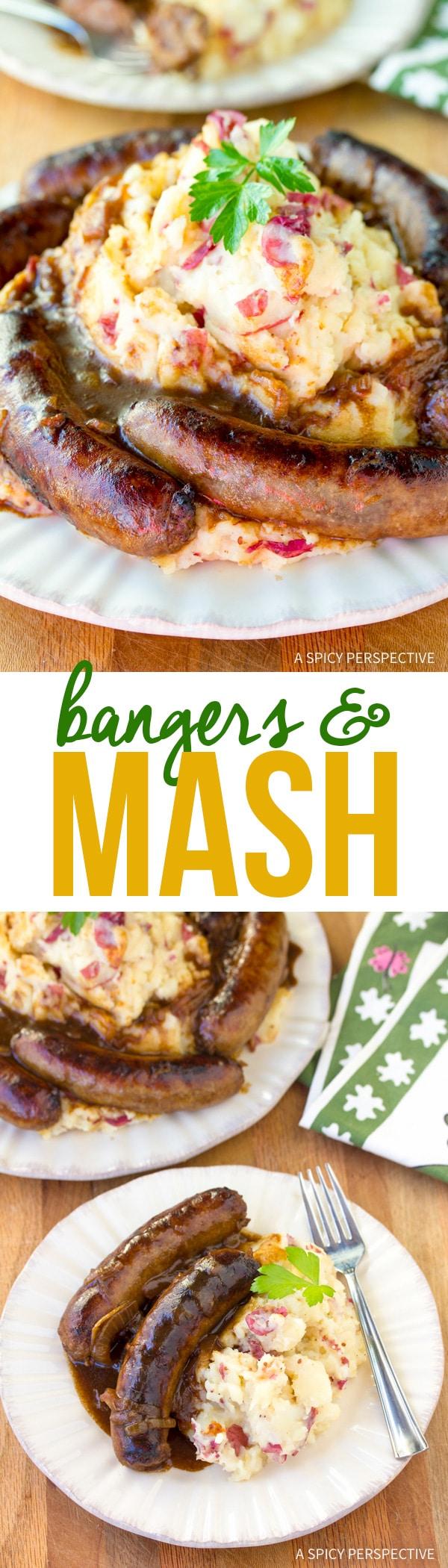 Rustic Bangers and Mash Recipe #saintpatricksday