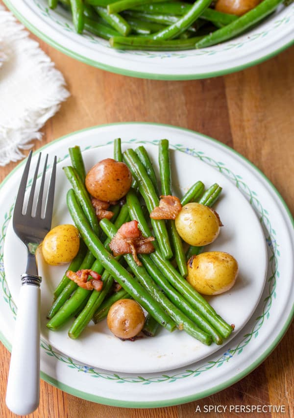 Vibrant Haricot Vert and Mini Potatoes with Bacon and Sweet Balsamic Vinegar | ASpicyPerspective.com