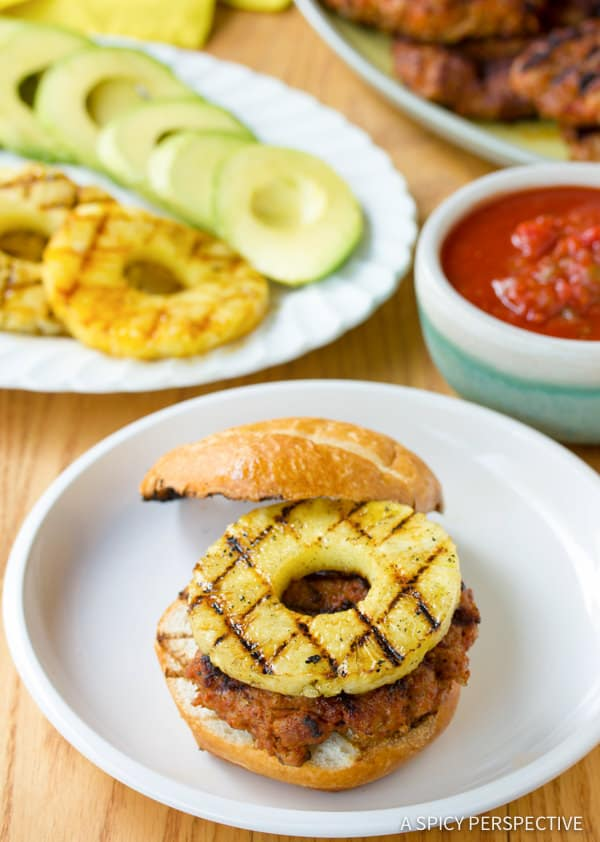 Fresh Pineapple Chorizo Burgers | ASpicyPerspective.com