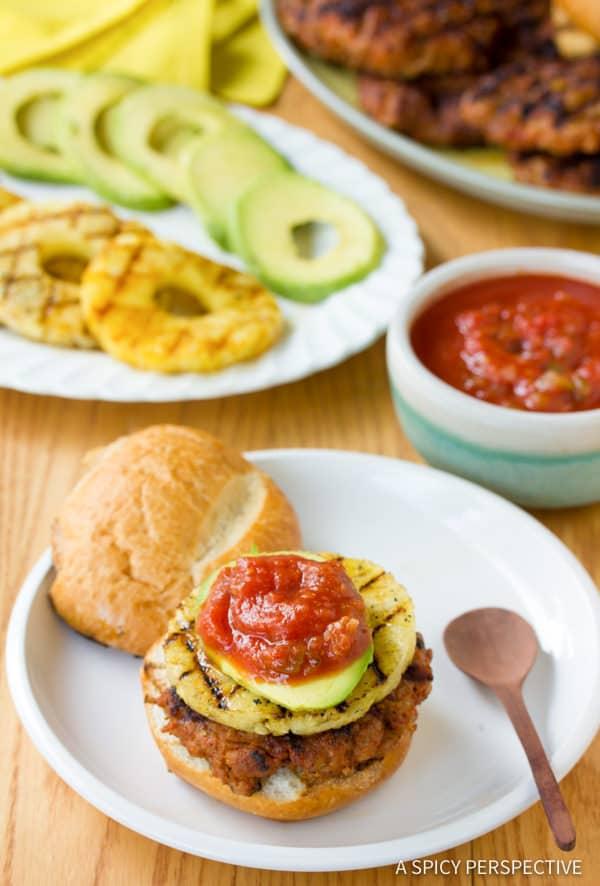Spicy Pineapple Chorizo Burgers | ASpicyPerspective.com
