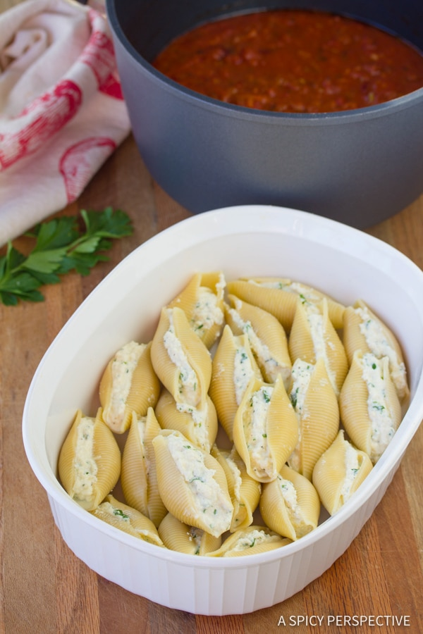 How to Make Classic Ricotta Stuffed Shells Recipe | ASpicyPerspective.com