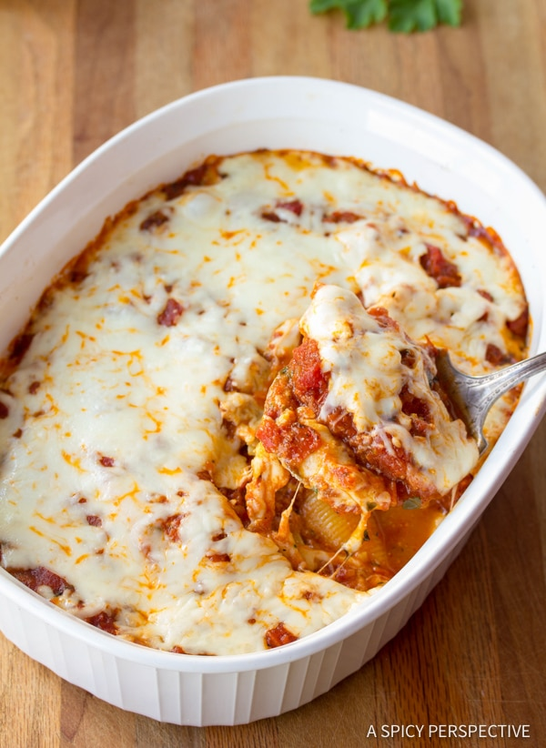 Perfect Classic Ricotta Stuffed Shells Recipe | ASpicyPerspective.com
