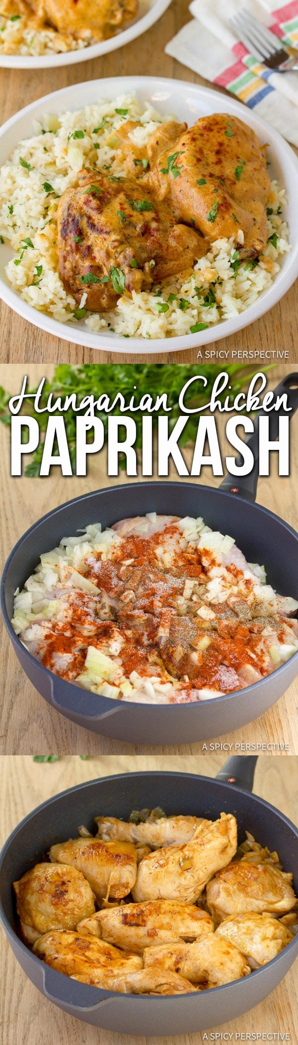 Creamy Hungarian Chicken Paprikash (Paprikas)   ASpicyPerspective.com