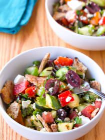 Grilled Fattoush Salad | ASpicyPerspective.com