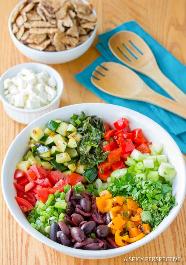 How to Make Healthy Grilled Fattoush Salad   ASpicyPerspective.com