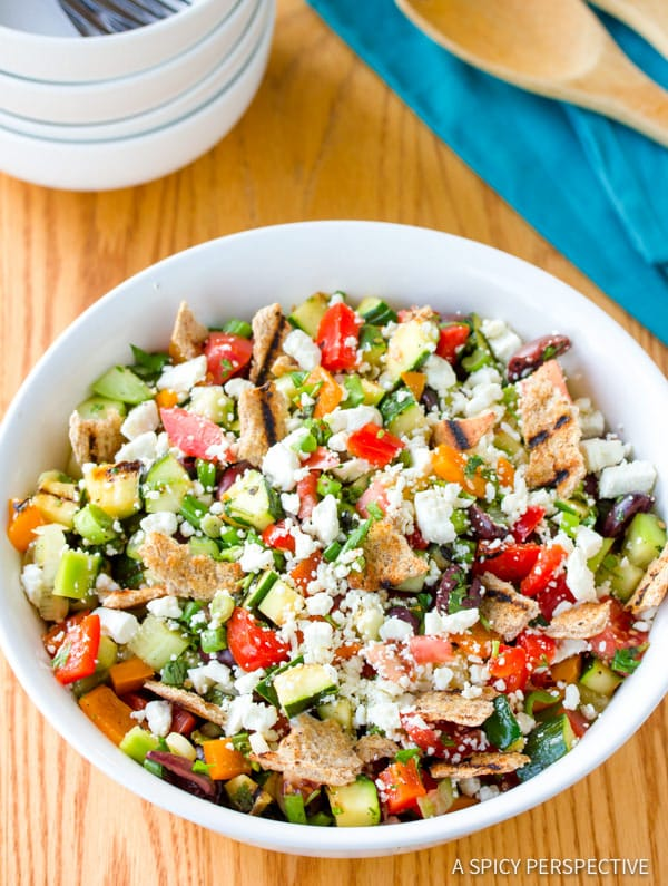 Best Healthy Grilled Fattoush Salad   ASpicyPerspective.com