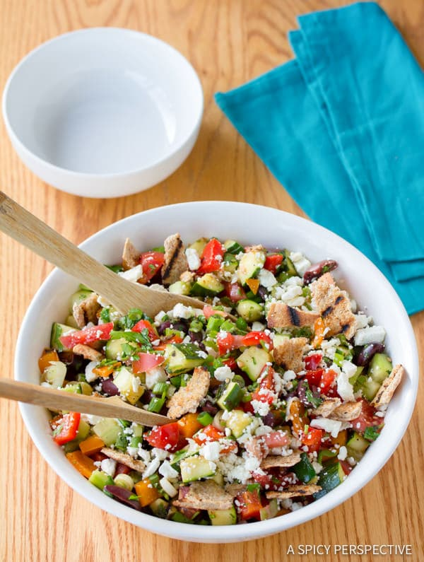 Fresh Healthy Grilled Fattoush Salad   ASpicyPerspective.com