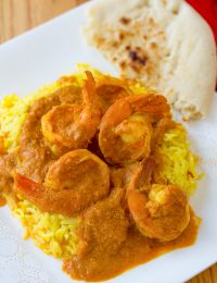 Quick Shrimp Rogan Josht with Saffron Basmati Rice Recipe