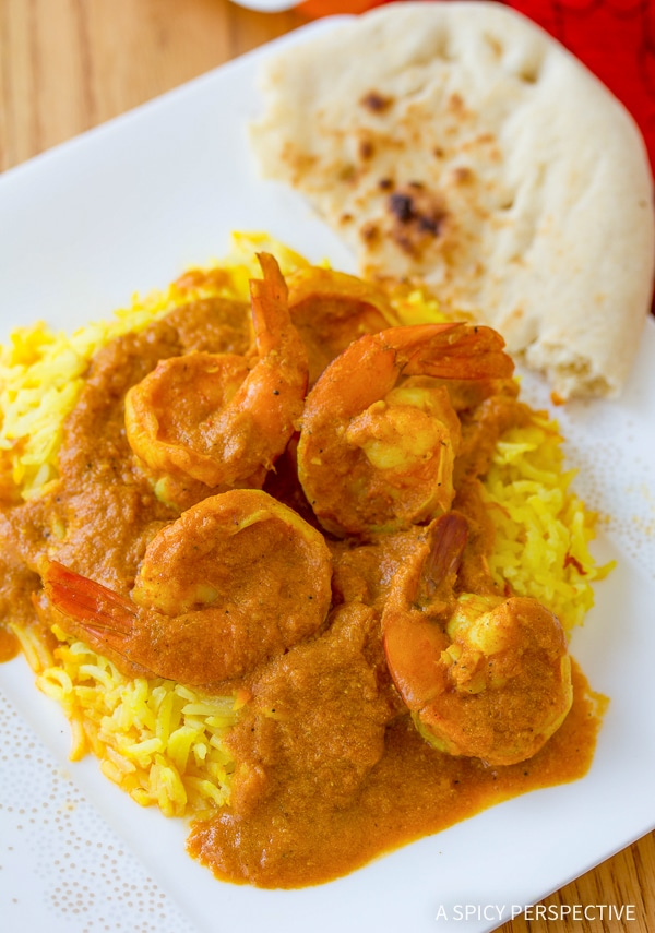 quick shrimp rogan josht with saffron basmati rice a spicy perspective