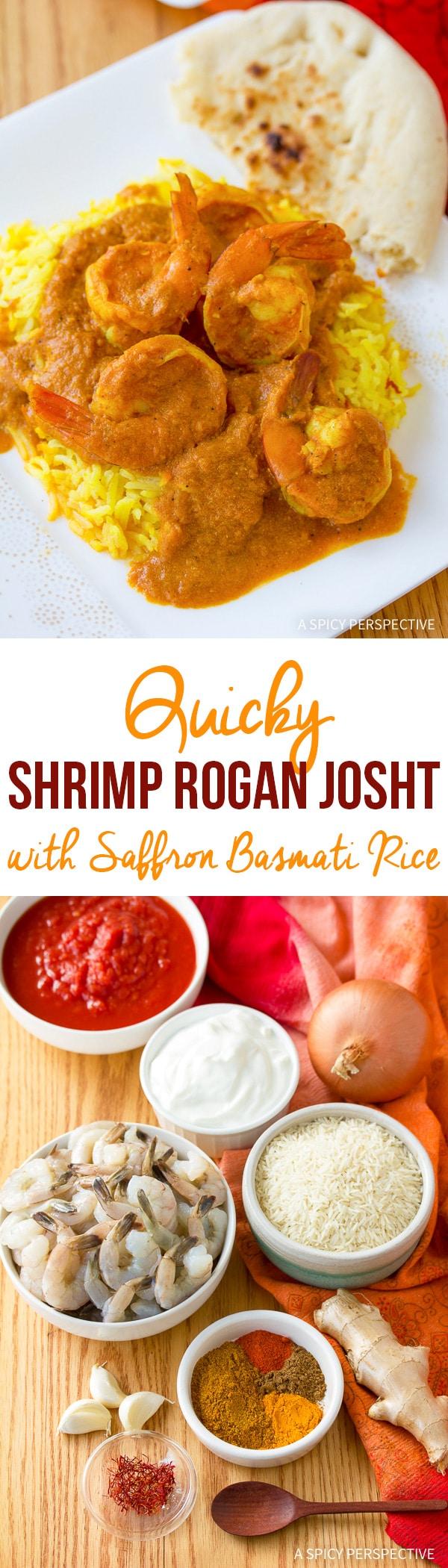Quick Shrimp Rogan Josht with Saffron Basmati Rice Recipe