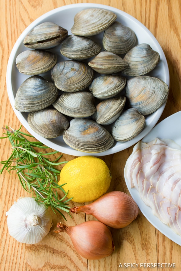 Making Clam Pasta (Pasta Alle Vongole Recipe) | ASpicyPerspective.com