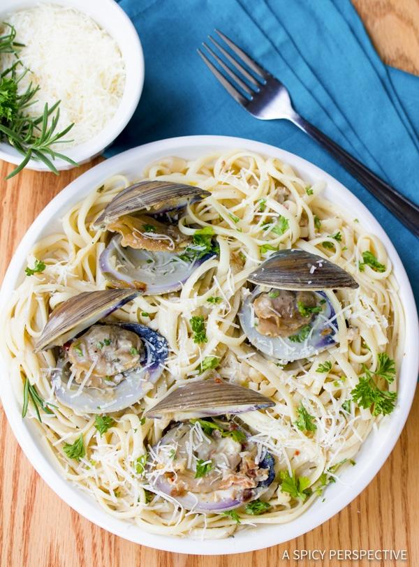 Easy Clam Pasta (Pasta Alle Vongole Recipe) | ASpicyPerspective.com