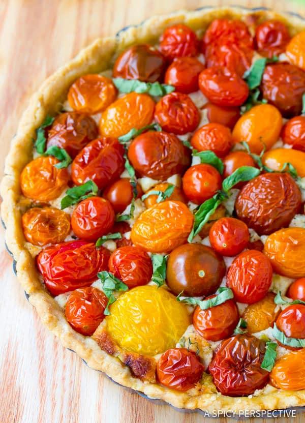 Perfect Fresh Tomato Tart Recipe | ASpicyPerspective.com