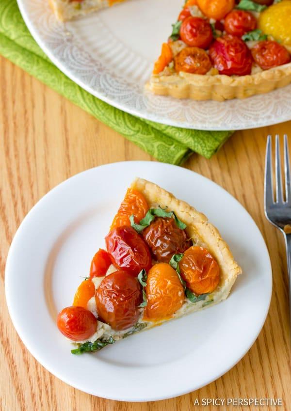 Simple Fresh Tomato Tart Recipe | ASpicyPerspective.com