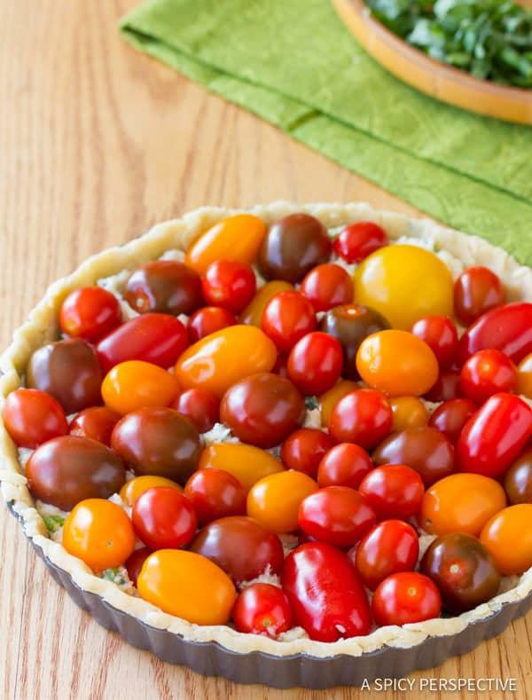 Easy Fresh Tomato Tart Recipe | ASpicyPerspective.com