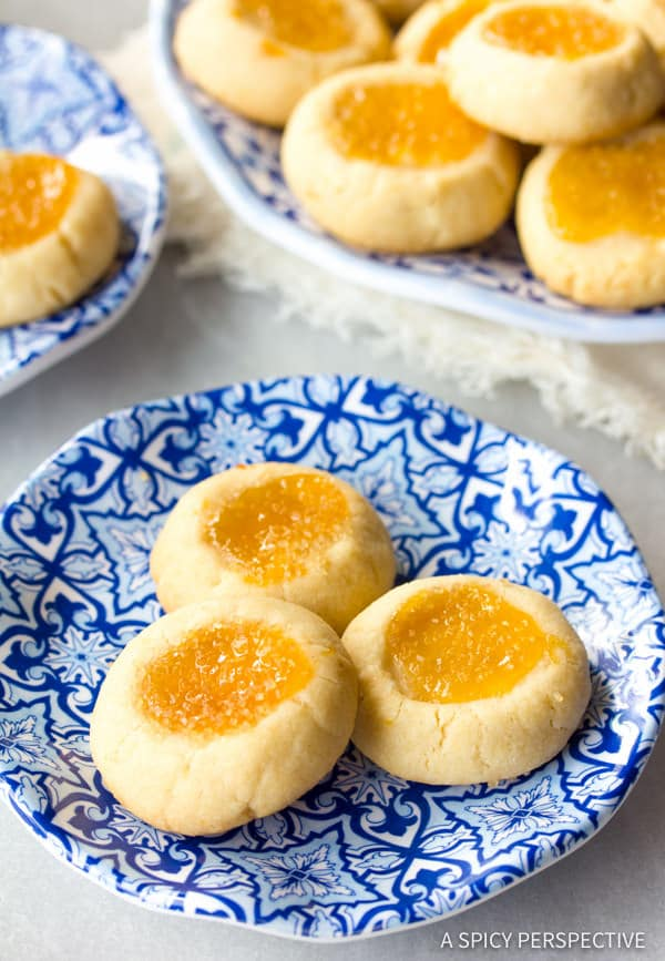 Sparkly Lemon Drop Thumbprint Cookies Recipe | ASpicyPerspective.com