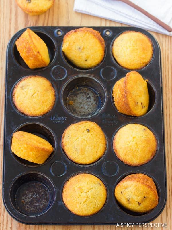 Salty-Sweet Maple Bacon Corn Muffins Recipe | ASpicyPerspective.com