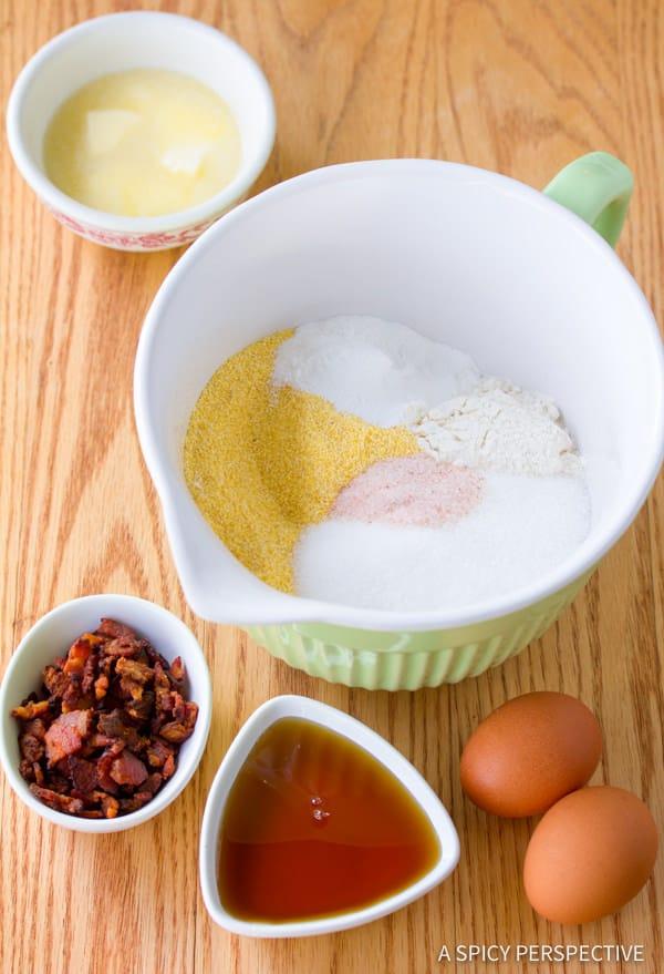 Making Maple Bacon Corn Muffins Recipe | ASpicyPerspective.com