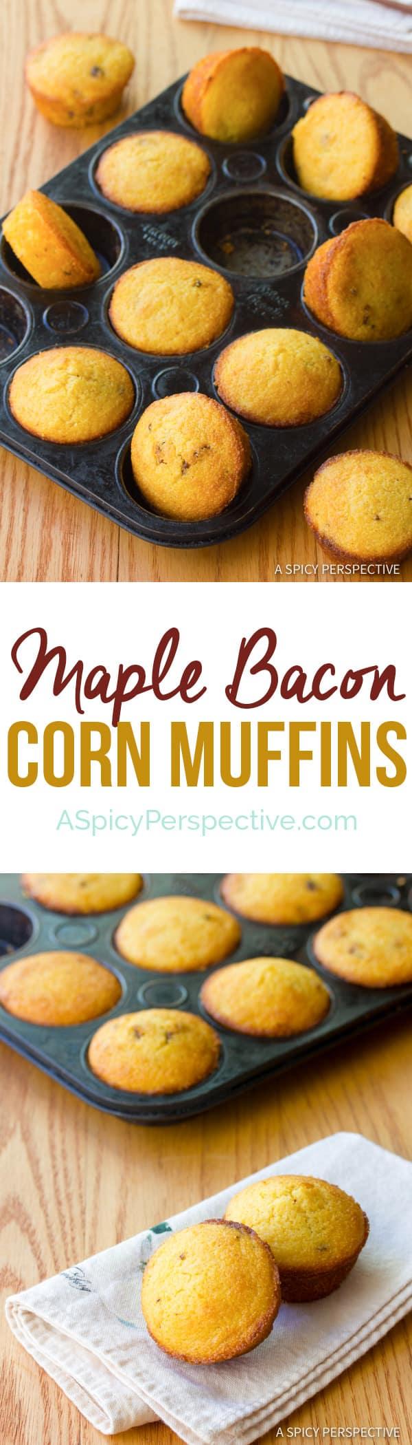 Maple Bacon Corn Muffins Recipe | ASpicyPerspective.com