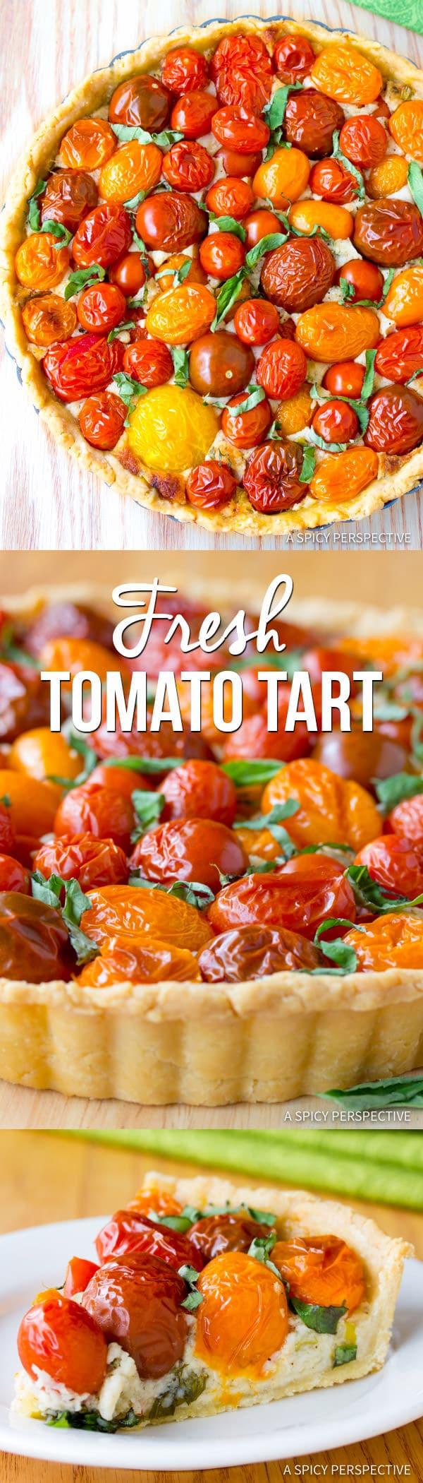 Perfect Southern Fresh Tomato Tart Recipe | ASpicyPerspective.com