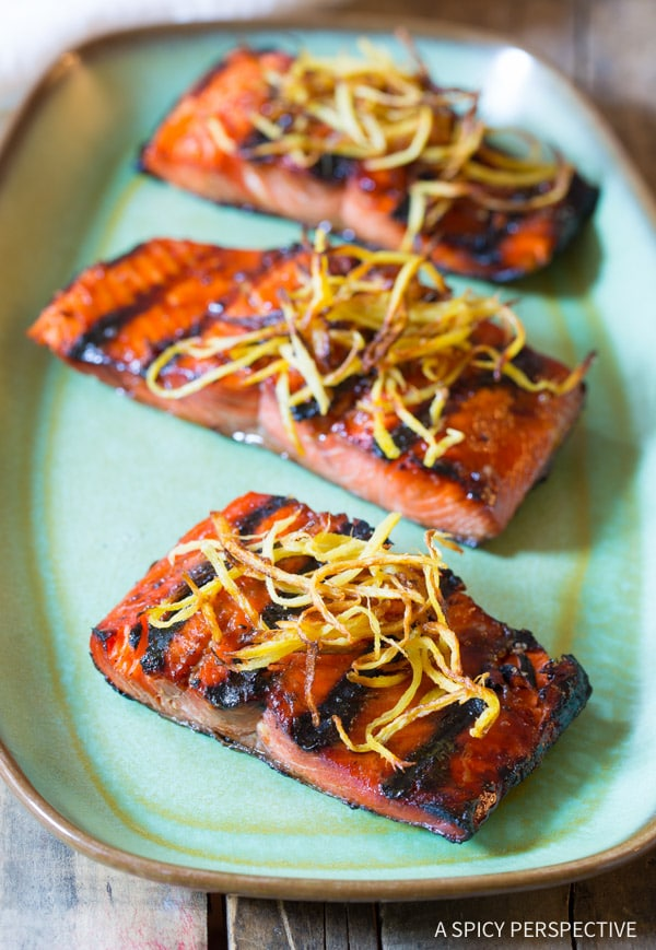 Love this Candied Smoked Salmon Recipe with Flash Fried Ginger on ASpicyPerspective.com #salmon