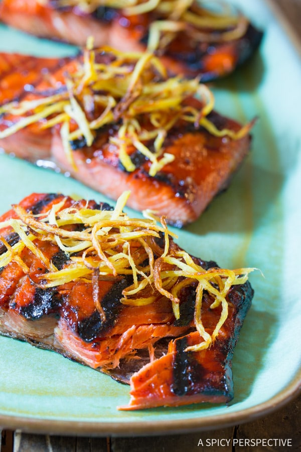 Amazing Candied Smoked Salmon Recipe with Flash Fried Ginger on ASpicyPerspective.com #salmon