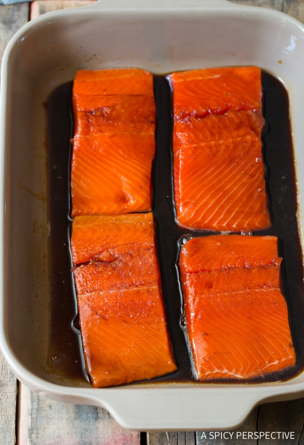 How to Make Candied Smoked Salmon Recipe with Flash Fried Ginger on ASpicyPerspective.com #salmon