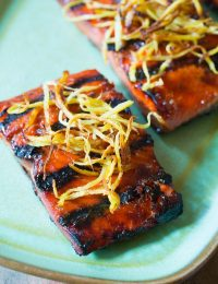 Candied Smoked Salmon Recipe with Flash Fried Ginger on ASpicyPerspective.com #salmon
