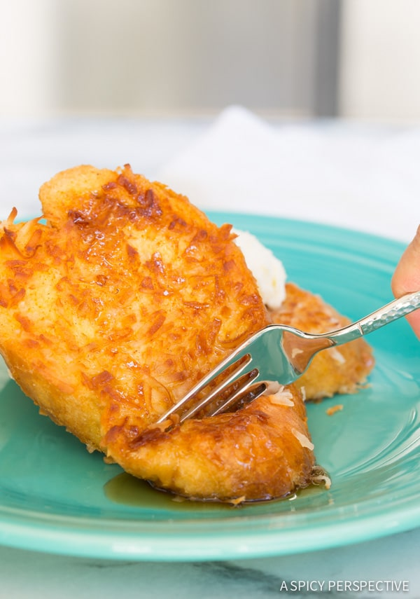 The Best Coconut French Toast on ASpicyPerspective.com #coconut