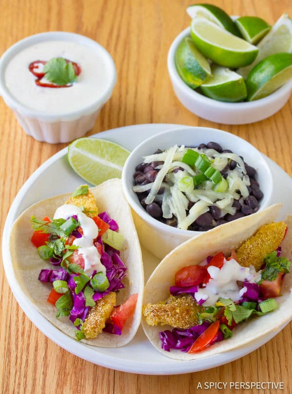 Corn Crusted Fish Tacos with Jalapeno Lime Sauce | ASpicyPerspective.com