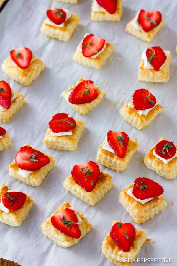 Simple Strawberry Brie Tartlets Recipe | ASpicyPerspective.com