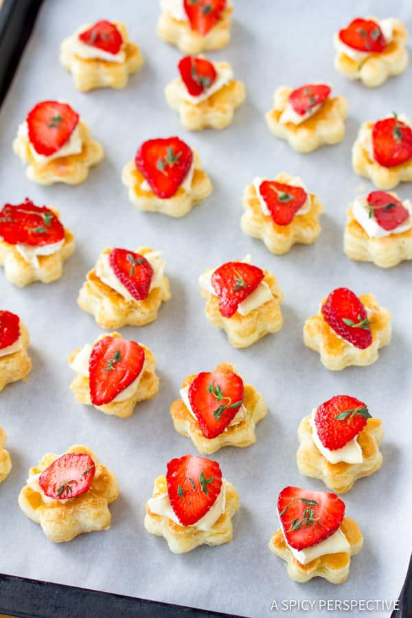 Strawberry Brie Tartlets Recipe | ASpicyPerspective.com
