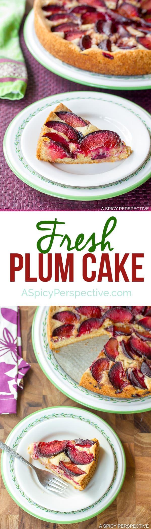 Fresh Plum Cake on ASpicyPerspective.com