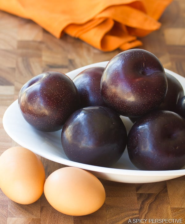 Prep for a Fresh Plum Cake on ASpicyPerspective.com