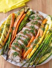 Healthy Grilled Pork Tenderloin with Chimichurri and Roasted Vegetables | ASpicyPerspective.com