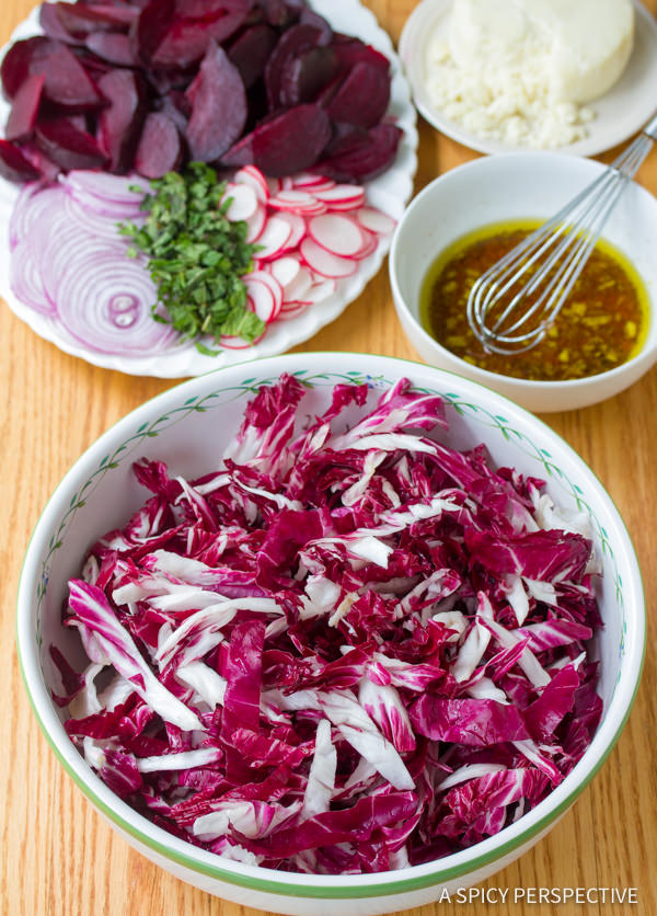 Making Roasted Beet and Radicchio Salad | ASpicyPerspective.com