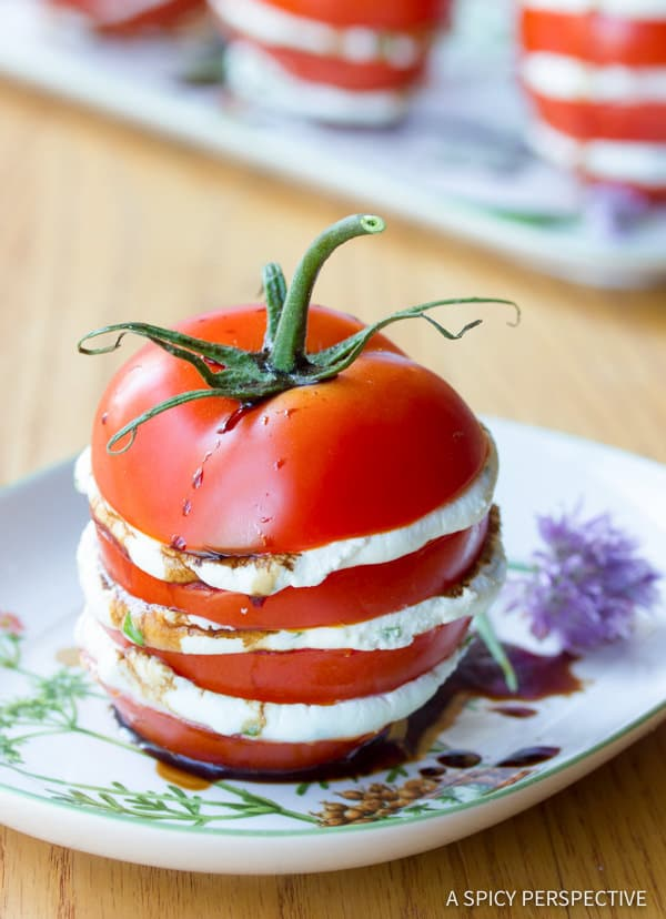 5-Ingredient Stacked Tomato Salad | ASpicyPerspective.com