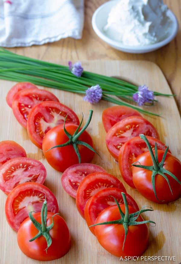 Easy Fresh Stacked Tomato Salad | ASpicyPerspective.com