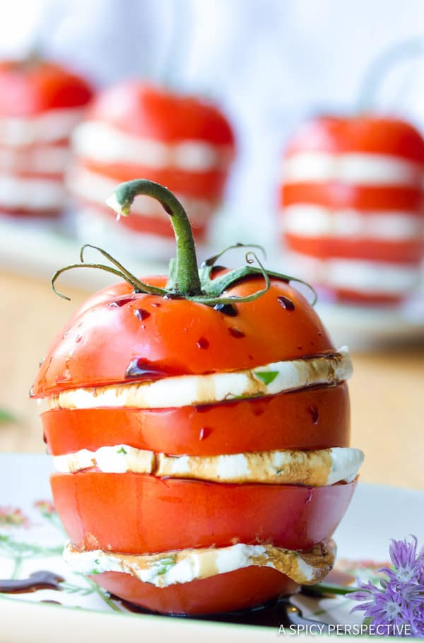 Fresh Stacked Tomato Salad | ASpicyPerspective.com