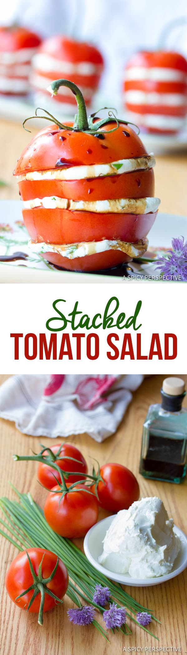 Fresh 5-Ingredient Stacked Tomato Salad | ASpicyPerspective.com