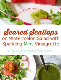 Lovely Seared Scallops on Watermelon Salad with Sparkling Mint Vinaigrette - ASpicyPerspective.com