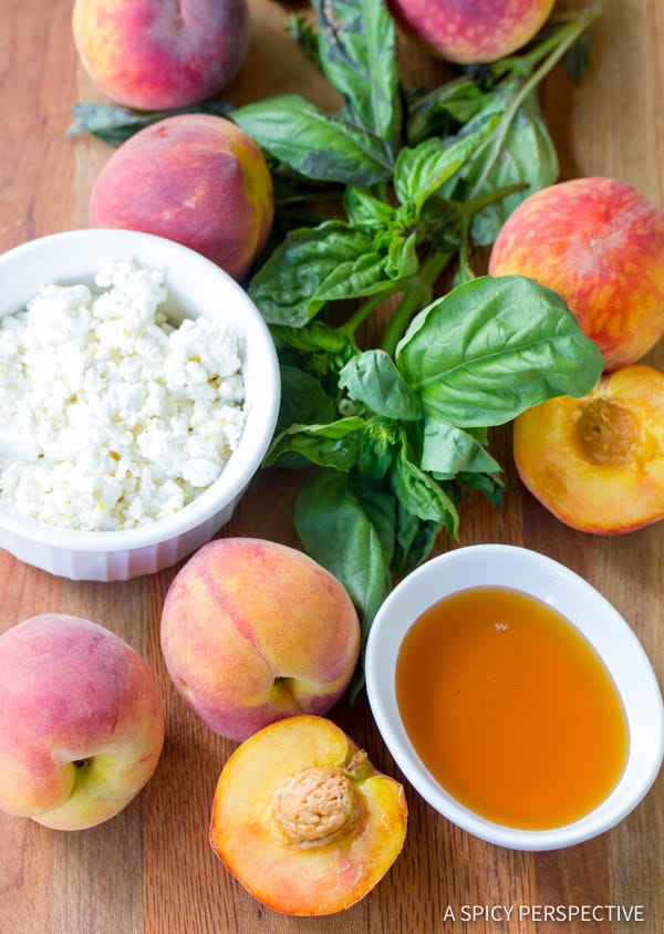 Making Fresh Peach and Basil Salad | ASpicyPerspective.com