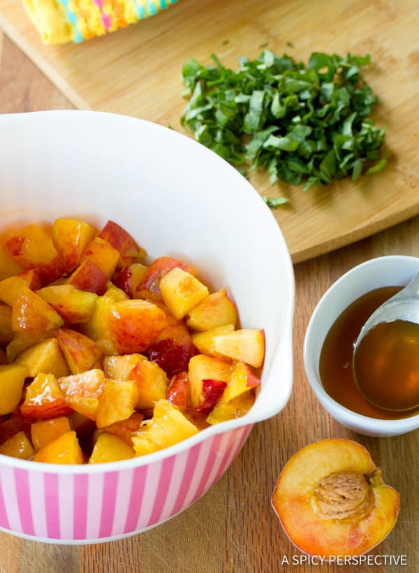 How to Make Fresh Peach and Basil Salad | ASpicyPerspective.com