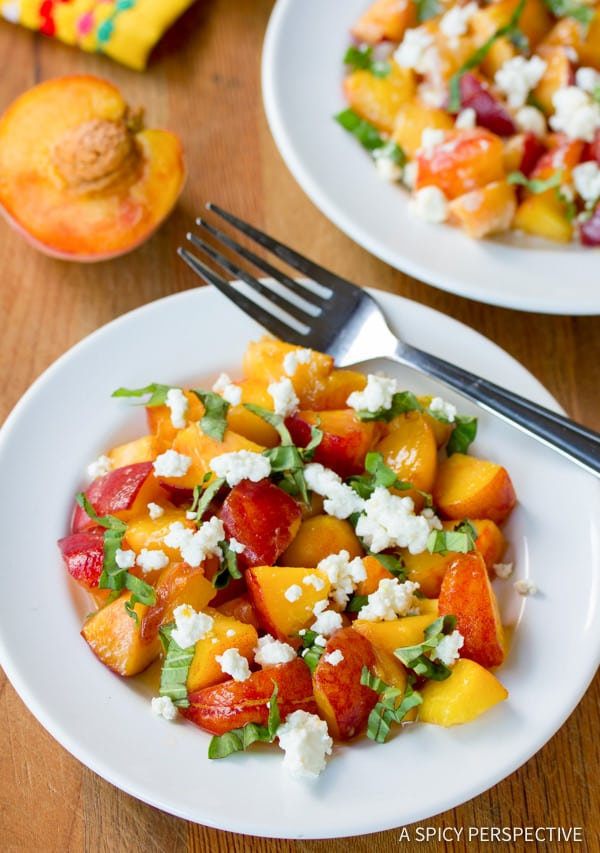 Simple Peach and Basil Salad | ASpicyPerspective.com