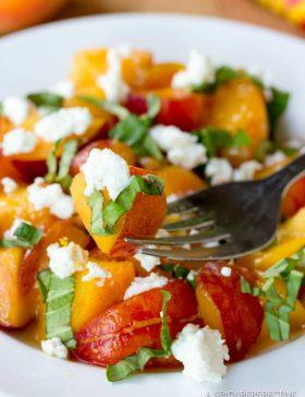 Fresh Peach and Basil Salad | ASpicyPerspective.com