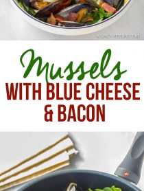 Mussels Recipe with Blue Cheese and Bacon (Moules Fromage Bleu) | ASpicyPerspective.com