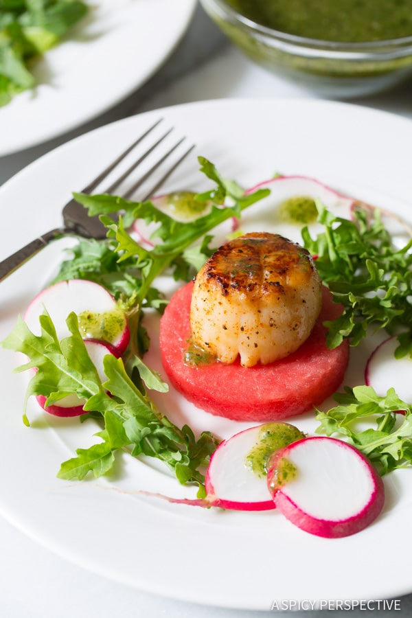 In Love - Seared Scallops on Watermelon Salad with Sparkling Mint Vinaigrette - ASpicyPerspective.com