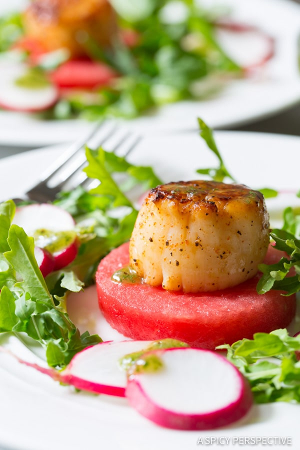 Awesome Seared Scallops on Watermelon Salad with Sparkling Mint Vinaigrette - ASpicyPerspective.com