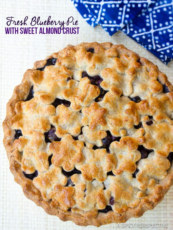 Perfect Fresh Blueberry Pie with Almond Pie Crust | ASpicyPerspective.com