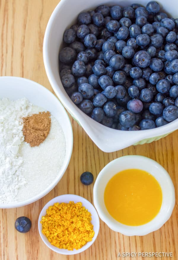 Making Fresh Blueberry Pie with Almond Pie Crust | ASpicyPerspective.com